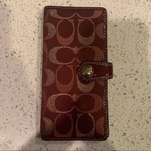 Coach Flat Wallet in Maroon and Gold